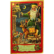 Beautiful Santa Claus GEL  Heavy Gilt Postcard - Green Gown, Deer