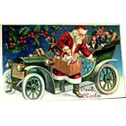 Very Scarce GEL Finished Santa Claus and Antique Automobile Christmas Postcard