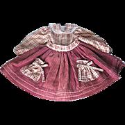 "Pretty Unworn Corduroy and Cotton Doll Dress w Pockets - 9 1/2"" long"