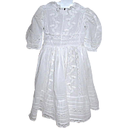 Victorian Ayrshire Whitework Muslin Embroidered Dress - French Lace Trims and Inserts