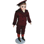 "Sweet 11"" Parian School Boy Doll, Glass Eyes, Original Costume, Oilcloth Boots"
