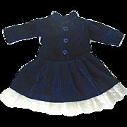 "Pretty Navy Blue Velveteen Doll Dress w Lace Hem - 10"" long"