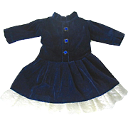 "Pretty Navy Blue Velveteen Doll Dress w Lace Hem - 10"" long"