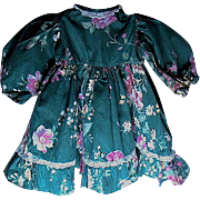 "Forest Green Polished Cotton Doll Dress w Pretty Floral Design - 12 1/2"" long"