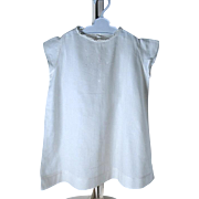 Summer White Cotton Batiste Embroidered Short Sleeve Dress - Large Doll