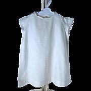 Summer White Cotton Batiste Embroidered Short Sleeve Dress - Large Doll
