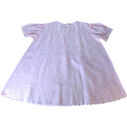 LARGE Light Pink Embroidered Batiste Doll Dress w Pin Tucks and Scalloped Hem