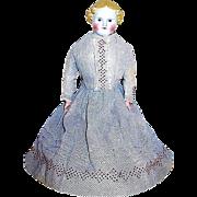 "Pretty 19th Century German Parian Doll -- all original antique clothing - 20"""