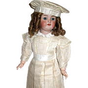 Exceptional Simon Halbig 1078 Bisque Head Doll - Comp & Wood BJB - Sweetest Facial Expression - Creamy Silk Costume