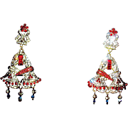 Heidi Daus Signed Retired Brilliant Holiday Shaped Drop Swarovski Crystal Earrings - Clips - Unused -MIBB
