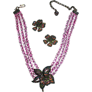 Light Amethyst Crystal Necklace w Floral Trembler Centerpiece & Clip Earrings - MIBB - Signed Heidi Daus