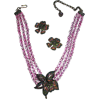 Dazzling Crystal Pendant Necklace Set - Heidi Daus Retired