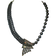Heidi Daus Multi Strand Faux Tahitian Pearl & Swarovski Crystal Asymmetrical Statement Necklace