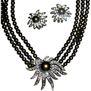MIBB Retired Heidi Daus Brown Faux Tahitian Pearl Centerpiece Necklace & Earrings Set