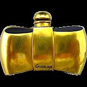 Earliest Guerlain 22k Gold on Cobalt Blue Glass Bowtie Figural Perfume Bottle - Coque d'Or Fragrance - EXCELLENT