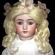 "Beautiful 24"" Simon Halbig - Handwerck Bisque Head Doll - Chunky Body - Mohair Wig - Pretty Dress"