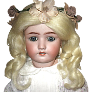 "Beautiful 24"" Simon Halbig - Handwerck Bisque Head Doll - Chunky Body - Mohair Wig - Pretty Dress"