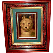 1890'S Oil on Board West Highland Terrier Dog Painting - Eastlake Burl Walnut Frame - Listed Artist