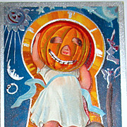 1910 Keyhole Halloween Series Postcard - Girl Wears JOL Mask -