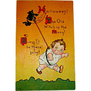 Campbell's Kid Boy & Evil Witch German Halloween Postcard