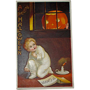 Unused Pristine Condition Clapsaddle Postcard - A Thrilling Halloween - 1909