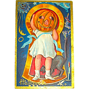 Keyhole Series no. 3 Postcard - Girl with JOL Mask, Gold Foil Halloween Symbols