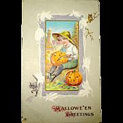 Nash Halloween Postcard - Boy Carving JOL, White Corn Cob Border, Owl & Cat
