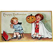 Adorable Whitney 1915 Halloween Postcard - Big Brother Scares Little Brother - EXCELLENT