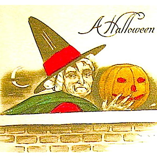 Antique Halloween Postcard -  Old Hag Witch with Hand Colored Details