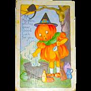 """1920 Whitney Halloween Postcard - Pumpkin Girl Witch Makes a """"Good Luck Brew"""""""