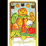 Fantasy Postcard - Happy Vegetables and JOL Celebrate Halloween, Lots of Gilt Details