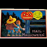 Barton Spooner 1910 German Halloween Postcard - Brothers, Scary JOL, Smiling Moon