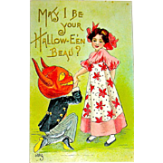 H.B. Griggs German Halloween Postcard - Goblin & Pretty Girl