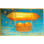 Clapsaddle Halloween Postcard - Happy JOLs Flying in Gondola Basket