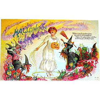 Antique Nash Halloween Postcard - Pumpkin Seeds Protect Lady from Witches & Goblins