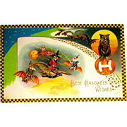 Rare Winsch Schmucker Halloween Postcard - Witch, Owl, Gnome, Clown, Bats Fly Above Planet Earth