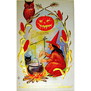 Mint Condition Halloween Postcard - Witch Making Magic Potion, Cat, Owl, Sparkling JOL