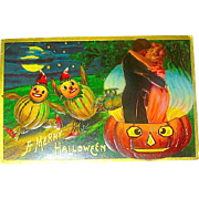 HTF Halloween Postcard - Romantic Couple in Steaming JOL, Scared Veggie Gourds & Owl