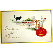 Unused Gibson Halloween Postcard - Clown, JOL, Black Cat