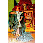 Young Witch Brews a Magic Potion 1909 Halloween Postcard