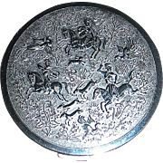 "Beautiful Tussy ""SAFARI"" Compact, - 16th Century India Hunting Party Motif - Archers, Horses & Gazelle"