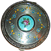 Exquisite Evans Guilloche Decorated Vanity Compact w Pastel Colored Vine Design