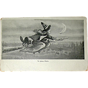 "1900's Black & White ""Ye Salem Witch"" Halloween Postcard c. 1902"