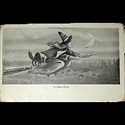 "1900's Black & White ""Ye Salem Witch"" Halloween Postcard c. 1902"