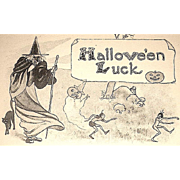 Antique Halloween Postcard - Sepia - Witch, Cat, imps, Goblins, JOL Ghosts,
