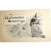 Antique Halloween Sepia Postcard - Unused - Witch, Scary JOL Goblins, Cats (2 of 3 Sampson Bros. Series 5600)