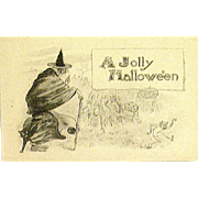 Antique Halloween Postcard -Sepia - Witch, Imps, JOL Man, Cat - (3 of 3 Sampson Brothers, N.Y. Halloween Series 5600)