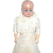 1850 English Poured Wax Doll, A/O Beautiful Hand Sewn Christening Gown - EXCELLENT