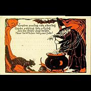 Great c. 1910-20 Unused Halloween Orange & Black Halloween Postcard Invitation