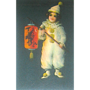 HTF Wolf Publishing Co. Clapsaddle Halloween Postcard - Girl in Clown Costume - Witch Decorated Lantern